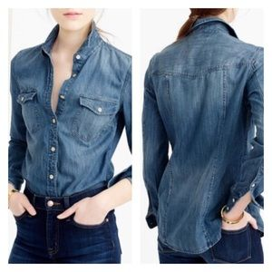J.Crew Western Denim Blue Jean Long Sleeve Shirt